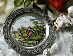Négy évszak gyűjtő tányér, falitányér-tavasz, BMF Zinn 95%, porcelán betéttel
