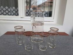 Üveg aranyozott kancsó, kiöntő 6 db pohárral