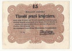 1849 es 15 pengő krajczárra Kossuth bankó papírpénz bankjegy 1848 49 es szabadságharc pénze BABA