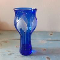 Régi , szép kék színű üveg  váza