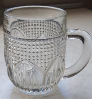 Retro régi gyerek pohár, üveg bögre- kakas