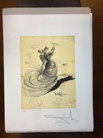 Salvador Dali (1904-1989) 50x65 BFK RIVES papíron ceruzával aláírva, G.Dali kiadás+száraz bélyegző/