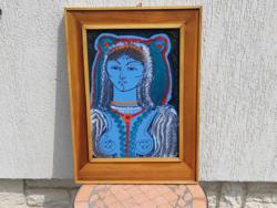 Modern Tűzzománc festmény, zomànc kép ,jelzett, Szignàlt portré népviselet.Munkàcsi díjas, aukciós