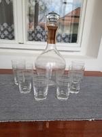 Üveg aranyozott kiöntő 6 db pohárral