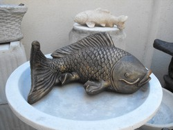Szép nagy 40cm Koi Ponty Hal bronz os Japán kerti Kő Feng Shui szikla kerti tó műkő szobor