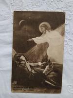 Antik I. világháborús képeslap, 'Hadi Kórház Dunakeszi' pecsétjével ellátva, katona 1915