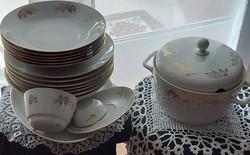 MZ Cseh porcelán étkészlet, arany szélekkel, búzavirágos, 19 db os, jelzett, vitrin minőség