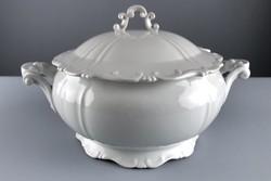 Zsolnay porcelán barokkos leveses tál, jelzett, régi