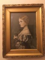 Fiatal nőt ábrázoló festmény a XlX. századból .