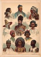 Embertípusok, etnográfia, fajok, litográfia 1899, eredeti, 24x34 cm, nagy méret, magyar, nép, zulu