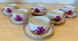 Herendi Apponyi purpur 6 db teás csésze aljával
