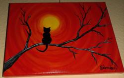 Cica a faágon festmény eladó