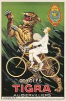 Vintage férfi bicikli kerékpár reklám plakát reprint nyomat tigris fehér öltöny szőke férfi pipával
