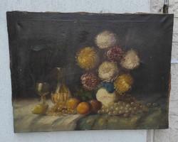 Antik csendélet festmény asztali,viràg-gyümölcs csendélet