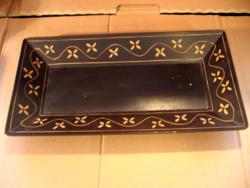 Fekete festett kézműves  fa tálca