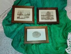 Antik,fa keretes 3 db kis kép.