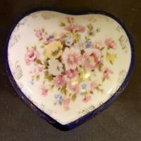 Porcelán szív alakú ékszertartó (Echt Kobalt)