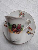 Antik cseh J.S. Maier & Co. porcelán teás/kávés szett gyerekmotívummal, bohóc, roller, kutya