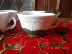 Zsolnay zöld Pompadour alapmázas kávés csészék 6 db