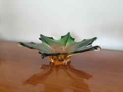 Szabok66 részére ! Retro nagy méretű üveg asztalközép vastag üvegtál régi dísztál 39 cm