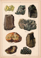 Ásvány (24), borostyánkő, barna szén, aszfalt, grafit, kén, litográfia 1899, eredeti, 24 x 34 cm