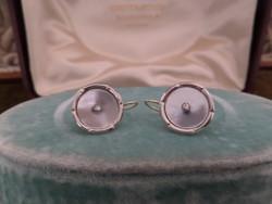 Gyöngyházas - brilles antik arany fülbevaló pár
