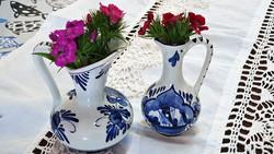 2 db.kis kancsó, mini váza, együtt eladó.Kézzel festett, holland, Delft blue porcelán.