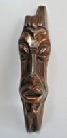 Bronzírozott afrikai fali maszk ,  falidísz - nagyobb méret