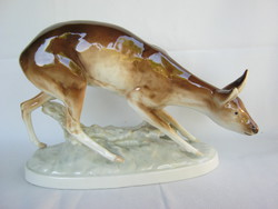 Royal Dux nagy méretű porcelán őz őzike