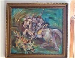 Szent György leszúrja a sárkányt Festmény  38x28 cm