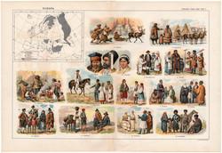 Európa népfajai, színes nyomat 1909, eredeti, 32 x 47, német nyelvű, etnográfia, nép, magyar, szerb