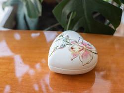 Gyönyörű Zsolnay porcelán bonbonier - klasszikus szépségű ékszeres dobozka orchidea mintával