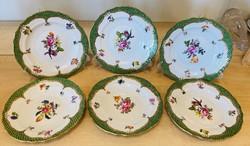 Herendi VBSO-EV zöld pikkelyes 6 db süteményes tányér