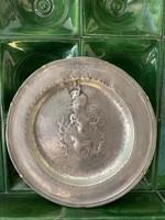 XVII. századi évszámmal jelzett /1670/ olasz, nagyméretű ón tál