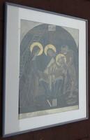 Antik templomi tűzzománc kép - zománckép Jézus levétele a keresztről - XIII. stáció