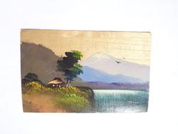 Régi kézzel festett Fuji hegyet ábrázoló japán képeslap