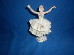 Kis német porcelán balerina balett táncos hölgy figura