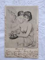 Antik/szecessziós, hosszúcímzéses grafikus képeslap/üdvözlőlap angyal, hölgy, rózsa 1901