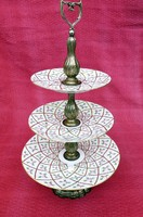 Herendi porcelán emeletes tortatál ezüst tartóval SPRONG mintával