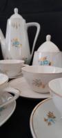 Hollóházi 6 személyes mokkás/kávés készlet ritka türkiz-arany virágos