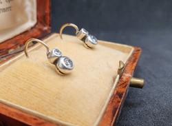 Antik Arany - Gyémánt - Ezüst Button Fülbevaló