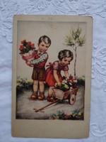 Vintage grafikus gyerekmotívumos képeslap/üdvözlőlap kislány, kisfiú, virágok 1949