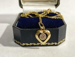 14k arany nyaklánc, szív medállal - 1,68g
