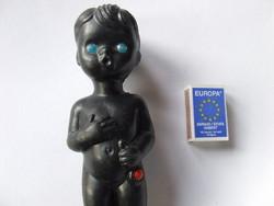 Régi, retró néger baba, fekete bőrű játék baba csörgővel