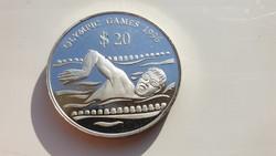 1994 Tuvalu 20 dollár 1996 Úszó Olimpia 31.47gr 0.925ag ritka ezüst érme