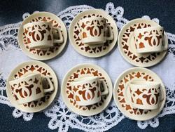 Vitrin állapotú retró Gránit kávés készlet 6 személyes