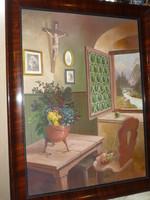 """Nagyméretű festmény """" Enteriőr """" Romantikus hangulatú szoba belső, táj kép"""