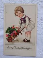 Antik grafikus gyerekmotívumos névnapos képeslap/üdvözlőlap kislány, taliga, virág, lóhere 1938