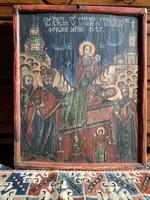 1827-es Mária elszenderedése témájú népies fára festett ikon
