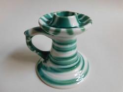 Gmundeni (Gmundner Keramik) zöld csíkos gyertyatartó
